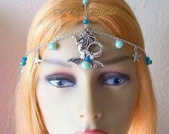 Mermaid Headpiece, Sea Goddess Headdress, Starfish Head Chain, Seahorse & Shells Circlet, Water Nymph Crown, Fantasy Headpiece, Aqua Blue