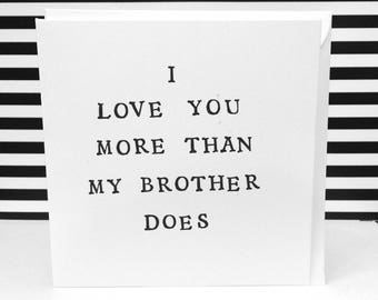 Funny fathers day card, love you more, mother and daughter, hand made greeting cards, fathers day card, 13.5cm square