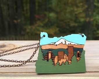 Wooden Necklace - Painted Portland, OR