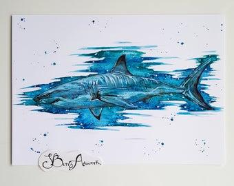 Shark, shark decor, shark print, shark nursery, nautical decor, ocean animals, nautical nursery, shark art, shark gift, scuba diving, ocean