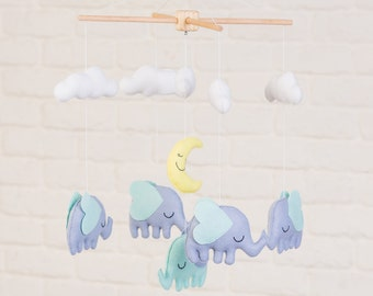 Elephants with Moon and Clouds Mobile, Baby Mobile, Mobile, Nursery Mobile, Nursery Decor, Felt Mobile, Crib Mobile
