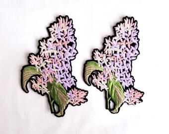 Hyacinth Flower Patch/2 PCS. Flower Applique/ Hyacinth Applique/Embroidered  Hyacinth Patch/Sew On Patch/