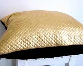 Benevento Gold Pillow Case,Gold Foiled Pillow Cover,Capiton Pillow Case,Gold Black Pillow Case