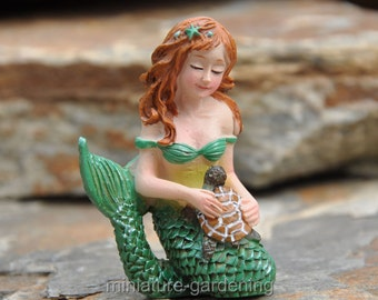 Mermaid, Turtle for Miniature Garden, Fairy Garden