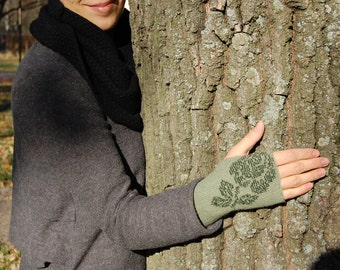 Beautiful hand knitted beaded long wrist warmers, fingerless gloves, alpaca wool, silk, colour green