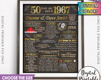 50th Anniversary Gift 1967 Poster CANADIAN Flashback 50 Years Ago Married in CANADA 1967 Birth 50th Gift Chalkboard Style Printable File