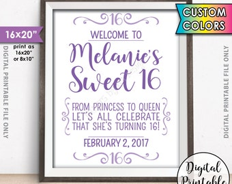 "Sweet 16 Sign, Custom Sweet Sixteen Welcome Sign, Sixteenth Birthday, Custom Color 16th Birthday Welcome Poster, 8x10/16x20"" Printable Sign"