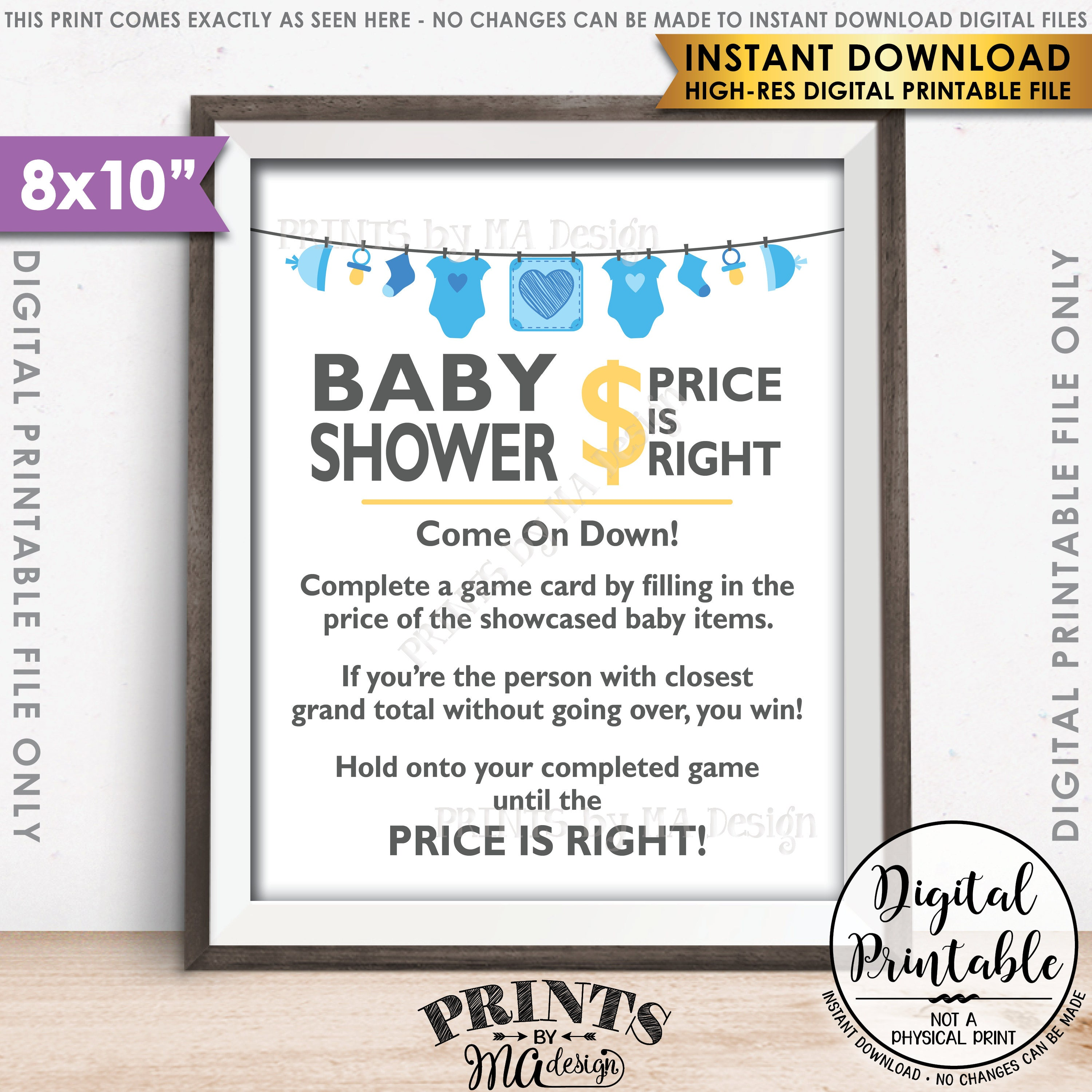 Price is Right Baby Shower Game Sign Guess the Prices Activity