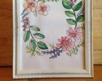 Floral Wreath Watercolor Customizable Wall Hanging