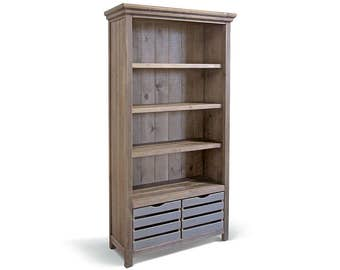 Bookcase, Bookshelves, Farmhouse, Reclaimed Wood, Display Cabinet, Shelves, Cabinet, Handmade, Rustic