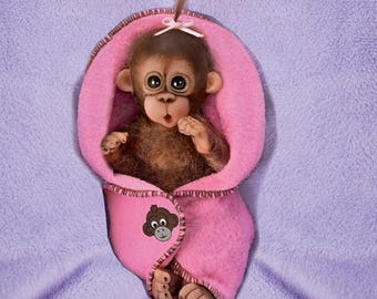 Ashton Drake - Cuddly Cuties Baby Monkey doll by Cindy Sales - BUNDLE OF JOY