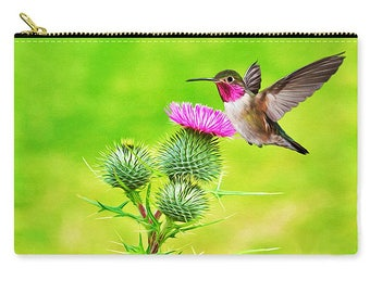 Handbag, Carry All Pouch, Hummingbird Bag, Zippered Clutch, Cosmetic Bag, Travel Purse, Make Up Bag, Bird Purse, Toiletry Bag, Gift for Her