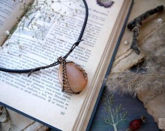 Pendant copper wire wrap, boho pendant, vintage pendant jewelry, copper pendant aquamarine, wirewrapping, necklace natural stone