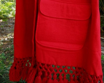 Red Wool Shawl Double Knit Pockets Crocheted Fringe 1970s