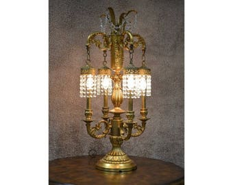 Ornate Vintage Italian Style Table Lamp w/Crystals