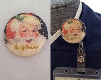 Vintage Santa ID Badge Holder Cover/Velcro Backed and Interchangeable/Nurse/Teacher/ID Wearing Professional Badge Reel Cover