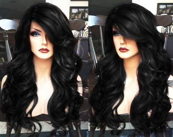 Black Lace Front Wig // Long Wavy + HEAT Ok // Curly Skin Part // for Chemo, Cosplay or Everyday