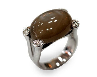 Goldring mit mondstein  Moonstone gold ring | Etsy