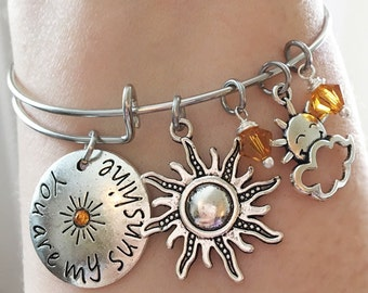 You are My Sunshine Topaz Yellow Sunny Love Cloud Friend Sun Daughter Girlfriend Wife Present Gift Antique Silver Wire Bangle Bracelet