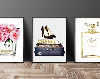 Set of 3 fashion posters, Perfume, books, gift for, Watercolor, Peonies, Gold, watercolour, Fashion decor, fashion illustration, bedroom,art