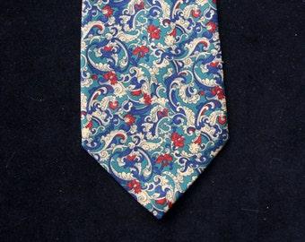 Vintage Havana (Tie Rack) Gentleman's Green and Blue Paisley Polyester Tie