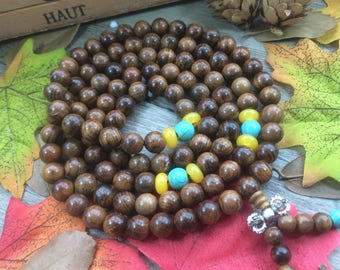 8mm Natural Dalbergia odorifera Natural Rosewood WoodBeads DIY Spacer Charms Meditation Buddhist Japa Mala Necklace
