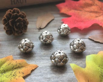 5pcs  Carved Lotus Flower Silver Charms DIY  Spacer Beads Loose  Beads Supplier For Handcarfts Necklace Mala