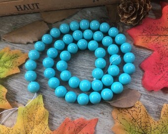 "Natural 8mm Turquoise Color Pearl Shell Stone Beads 15"" Loose Beads DIY Suppliers for Jewelry Spacer Charms  1 Strand"