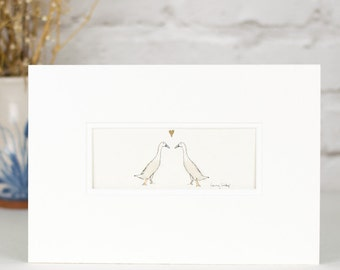 Print, indian runner ducks in love, hand finished with wool