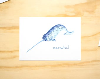 Narwhal Whale Watercolour Illustration Print // A6 Print Postcard // Sea Animals // Nursery Bedroom Decor // Animal Print