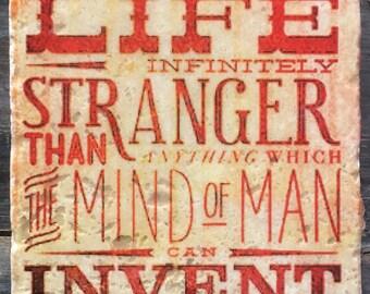 OVERSTOCK SALE: Life Infinitely Stranger Sherlock Quote Coaster or Decor Accent