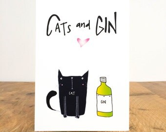 Cats and Gin print