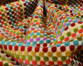 Soft Woven Jacquard Velvet Bright Coloure Geometric Polka Dot Pattern Upholstery Fabric For Sofas Curtains & Furnishings - Sold By The Metre