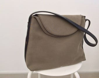 Cotton fabric and leather shoulder bag and leather Bag
