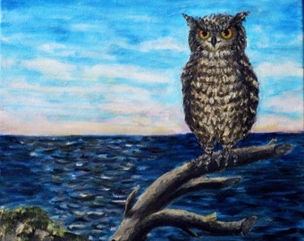 Owl and sеа-dawn-Full moon-Original Painting-Oil on canvas-Seascape-Handmade by Silvla Dimova