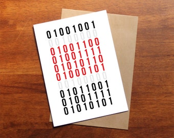 Geeky Valentines card, I LOVE YOU in binary code, PRINTABLE Cards, nerd card, quirky valentines card