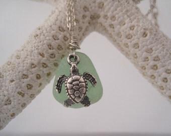 Sea Glass Pendant - Sea Turtle Charm - Beach Glass - Green Sea Glass - Summer Style