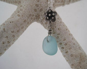 Sea Glass Pendant - Perfectly Frosted Aqua Blue - Beach Glass - Silver Flower - Nature Inspired - Sea Glass Bloom