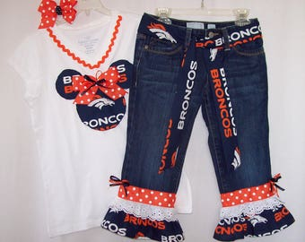 Custom Boutique Minnie Mouse NFL jeans outfit all teams Patriots Cowboys Steelers Lions Packers Colts Falcons Dolphins 49ers Seahawks Bears