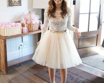 Champagne Very Full Tulle Skirt