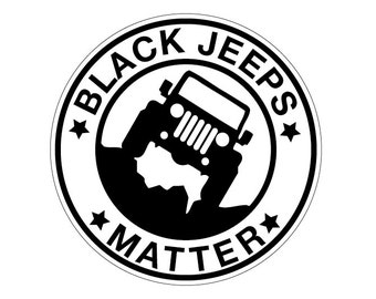 Black Jeeps Matter CIRCLE Decal Vinyl or Magnet Bumper Sticker