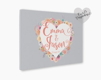 Personalised Canvas Gift For Newlyweds, Wedding Sign Ideas, Wedding Welcome, Engagement Gift, Bridal Shower, Housewarming Gift, New Home