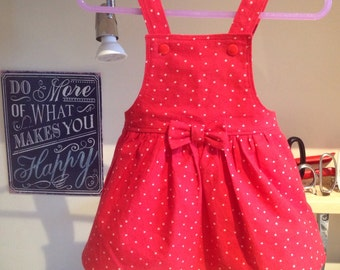 Handmade Red Pinafore Bib Dress age 3-6 Months. Perfect for a special occasion party outfit or everyday wear.