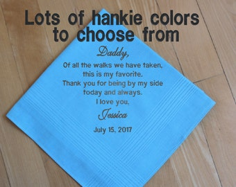 Father of the Bride wedding handkerchief, embroidered hankie, blue, pocket square, Personalized Gift.  Men's Hankerchief. dad gift, FOB4
