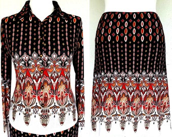 OUTLET! 20% Off PIERRE CARDIN 1970s Vintage Blouse + Skirt size L Arabesque Full Authentic Made in Italy