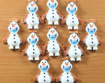 10 Frozen Olaf Snowman Resin Flat Backs Scrap Booking Hair Bow Center Craft Making Embellishments DIY