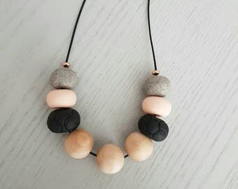 Polymer clay necklace/Flesh black and granite clay beaded necklace /polymer clay jewellery/ beaded necklace/ gift for her/ wooden necklace