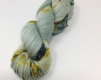 Indie Dyed Yarn on Merino cashmere Nylon MCN blue gold green speckled