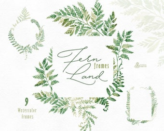 FernLand. Frames. Watercolor floral clipart, ferns, leaves, wild, wedding, bridal, suite, greeting, green, template, forest, minimalistic