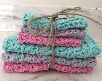 baby washcloth set,  handmade wasshcloth, eco friendly, enviro friendly, green pink washcloths, crocheted linen, reusable handmade washcloth